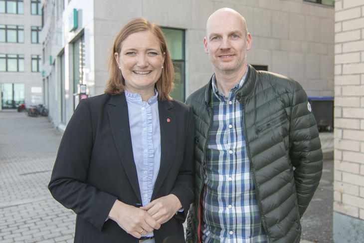 Ordfører Ida Pinnerød og helseleder Stian Wik Rasmussen i Bodø kommune. Foto: Aleksander Ramberg