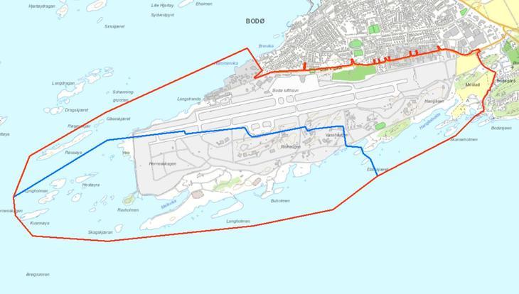Planavgrensning for kommunedelplan ny bydel (rød linje) og områdeplan for ny lufthavn (blå linje)