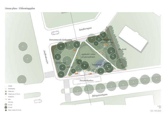 Forslag til utformingsplan for Annas Plass ved Hålogalandsgata