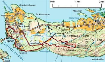 Kart over Knaplundsøya