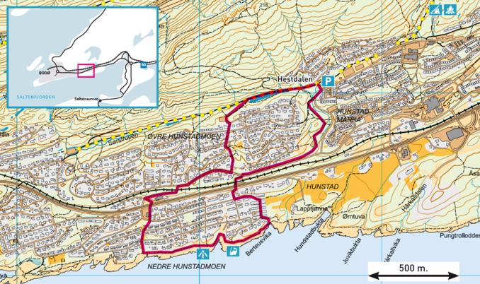 Kart over hunstadrunden øst