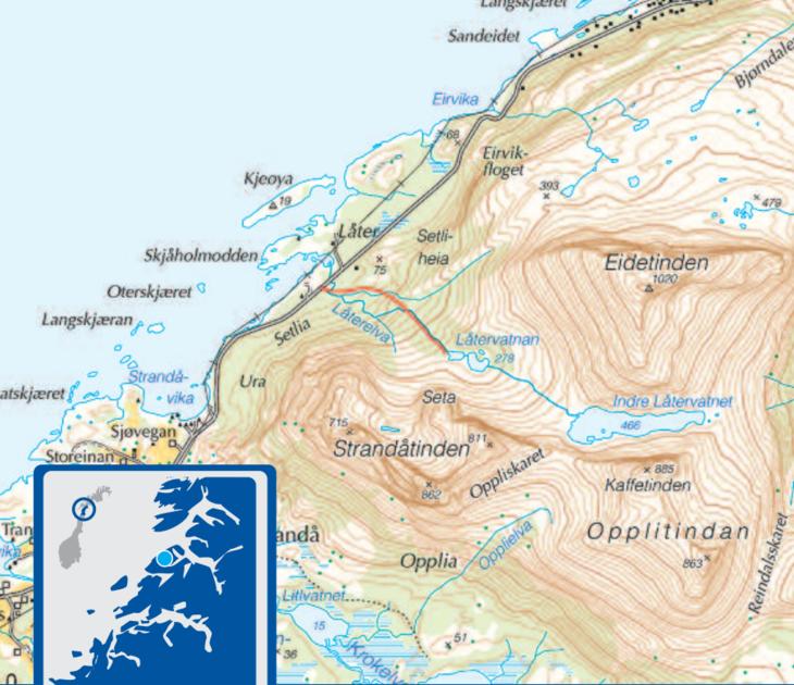 Kartutsnitt Låtervatnet