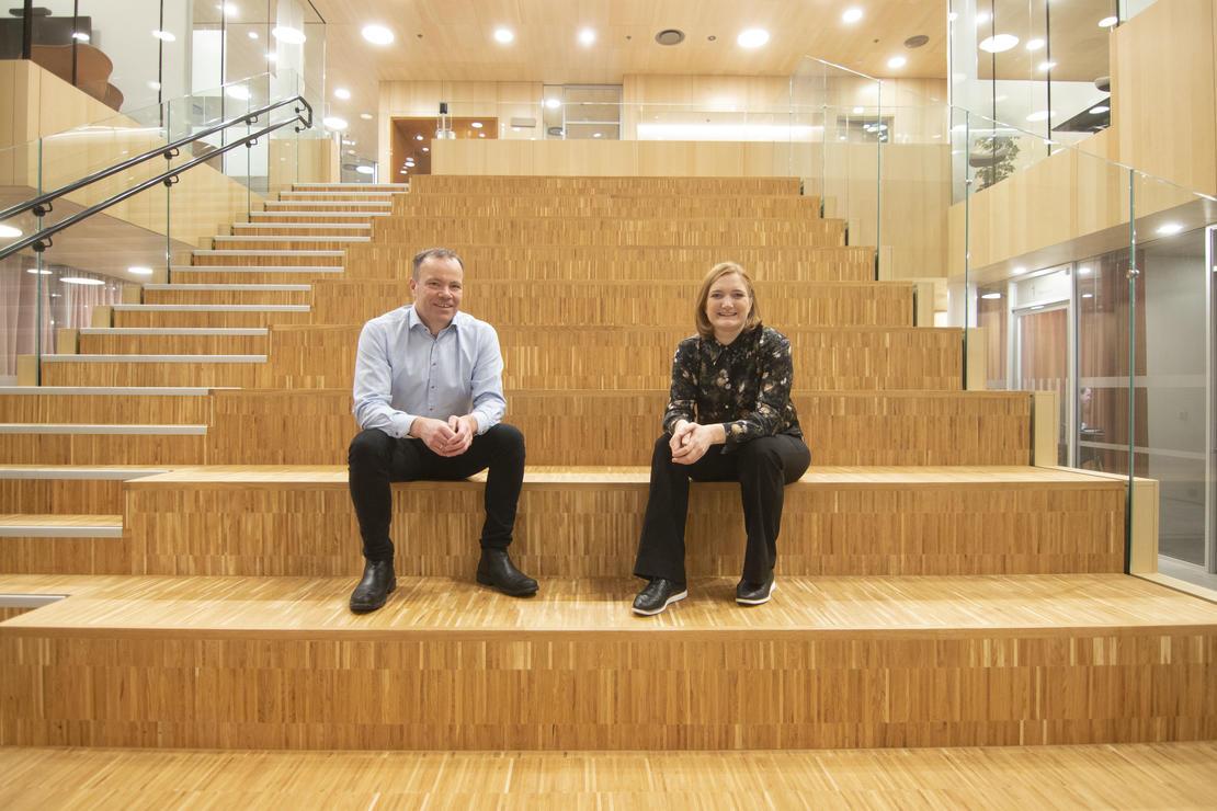 Fylkesrådsleder Tomas Norvoll og ordfører Ida Pinnerød. Foto: Per-Inge Johnsen