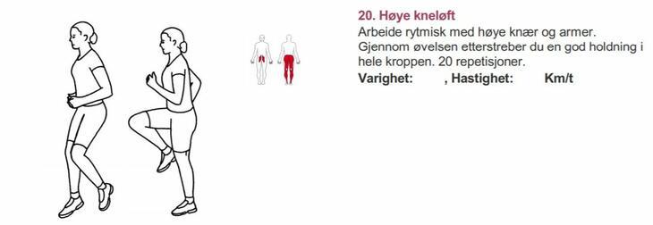 Høye kneløft - Alfabet styrketrening