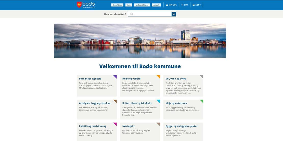 skjermbilde av de nye nettsidene til Bodø kommune